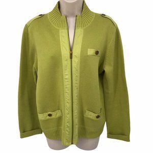 Jones New York Green Zip Front Sweater Cardigan PL